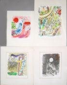 Marc Chagall 4 Farblithographien, o. Rahmen