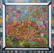 El Fatihi, Kamele, Vögel u.a. in exotischer Landschaft, großes Gemälde/ Relief