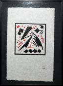 """Erich Buchholz, """"Blitzform"""", Holzschnitt von 1918/72, galeriegerahmt"""
