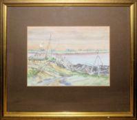 August Erkens, Am Ufer eines Gewässers, monogrammiertes Aquarell, gerahmt