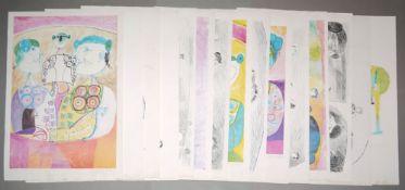 """Vicente Clavo Gil, Künstlermappe """"Tauromachia"""", mit 15 Lithographien, Hrsg. Gal"""