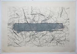 Michael Buthe, o.T., große, signierte übermalte Radierung, um 1970, gerahmt