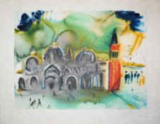 """Salvador Dalí, """"Venise (La Basilique et le Campanile)"""", signierte Farblithograp"""