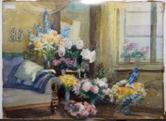 Wilhelm Eller, Mit Blumen geschmücktes Zimmer, Aquarell