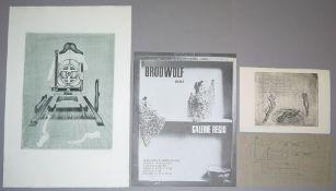 Jürgen Brodwolf, Sammlungs-Nachlass aus 9 großen Radierungen, einem Probedruck,