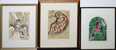 """Marc Chagall, """"L'Ange à l'Épée"""", """"Agar dans le Désert"""" & """"La tribu de gad"""", 3 F"""