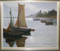 Mary Coulon Serra, Fischerboote an französischer Küste, 4 signierte Ölgemälde,