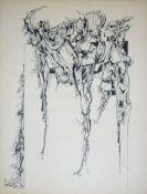 Hans Dahlem, Abstrakte Komposition, signierte Filzstiftzeichnung von 1969, o. R