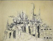 Hans Dahlem, Abstrakte Komposition mit Architektur, aquarellierte Tuschezeichnu