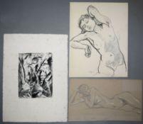 Josef Eberz, expressionistische Radierung von 1920, sign. & Richard Kempin, Fra