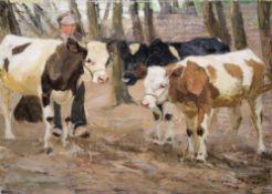 Otto Dill, Drei Kühe und Bauer, Ölgemälde von 1910