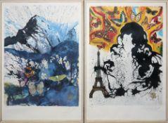 "Salvador Dalí, ""S.N.C.F."", 6 signierte Farblithographien mit Schmetterlingen vo"