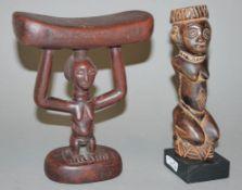 Kopfstütze der Luba und Sklavenfigur der Yombe, Kongo
