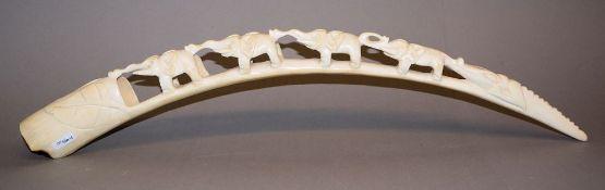 Elefantenkarawane, Elfenbein-Zahnschnitzarbeit mit CITES-Bescheinigung