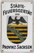 """Emailschild """"Städte-Feuersozietät""""Rechteckige, l. gewölbte Eisentafel. Polychromer Emailau"""