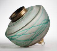 Glastank für PetroleumlampeFarbloses mattiertes Glas, netzartig aufgeschmolzene grüne Glasf