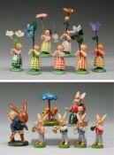 Konvolut Blumenkinder und Osterfiguren14-tlg. Holz, gedrechselt, polychrom bemalt. Auf runder