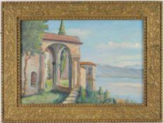 Erismann, Friedrich Johann(1911 Gerzensee - 1995 Bern) Öl/ Lwd. Italien. Terrassenblick auf