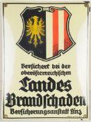"""Emailschild """"Landes Brandschaden Versicherungsanstalt""""Rechteckige, l. gewölbte Eisentafel. P"""