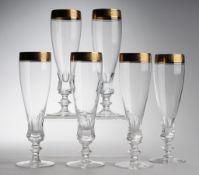 """Sechs Sektkelche """"Concord mit Mintonborte""""Farbloses Kristallglas. Formgeblasen. Scheibenfuß,"""