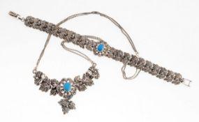 Art-Déco-Schmuckset 2-tlg. Collier u. Armband. 925er Silber. Florale Formen, Blattwerk u. Blüten.
