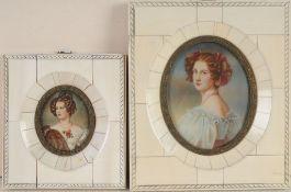 Zwei MiniaturbilderMischtechnik/ Elfenbein. Ovale Formen. Porträtbild v. Auguste Strobl (180