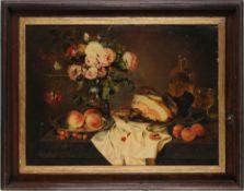 Mattenheimer, Theodor(1787 Bamberg - 1856 München) Öl/ Holz. Stillleben mit Blumen, Frücht