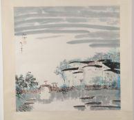 Zheng, Shufang(Chinesischer Künstler, geb. 1941) Tusche, Aquarell/ Papier. Hängerolle. Dorf