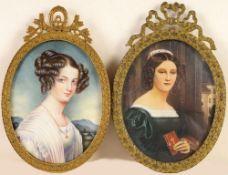 Zwei MiniaturbilderÖl/ Elfenbein. Ovale Form. Porträt der Gräfin E. Szechenyé. Nach einer