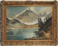 Angerer, Ludwig(1891 Thalheim/ Linz - 1948, war tätig in München) Öl/ Hartfaser. Uferlands