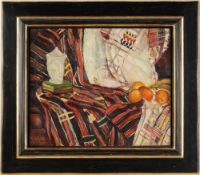 Cimière, Reine (Französische Künstlerin, M. 20. Jh.) Öl/ Lwd. Stillleben mit Früchten, Büchern u.
