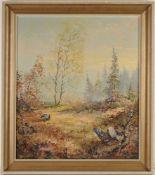 """Feurer, H.(Deutscher Maler, 20. Jh.) Öl/ Lwd. """"Birkhähne"""". R. u. sign. Rahmen u. verso Etik"""