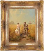 Fröhlich, Ernst(1810 Kempten - 1882 München) Öl/ Lwd. Genreszene, Begegnung im Getreidefel