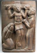 Bentele, Heinz(Köln 1902 - 1983, war tätig in Herchen) Bronze, patiniert. Kreuzigungsgruppe