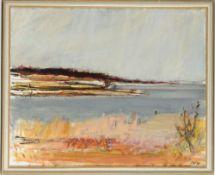 Flemming, Per(Dänischer Maler, geb. 1940) Öl/ Lwd. Uferlandschaft. R. u. monogr. u. dat. (1