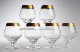 """Sechs Cognacschwenker """"Concord mit Mintonborte""""Farbloses Kristallglas. Formgeblasen. Scheiben"""