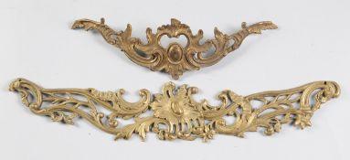 Zwei historistische ZierblendenBronze/ Eisenguss, goldfarben gefasst. Durchbrochen gearbeitet