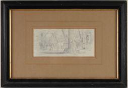 """Brendel, Albert(1827 Berlin - 1890 Weimar) Blei/ Papier. Pferdestall. Zeichnung. L. u. dat. """""""
