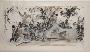 Xu, Peichen(Chinesischer Künstler, geb. 1951) Tusche, Aquarell/ Papier. Rollbild. Affen und