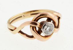 Jugendstil-Brillant-Ring585er RG/GG. Zweisträngige Ringschiene, schaus. geteilt u. verschlun