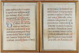 Paar AntiphonarblätterTusche/Pergament. Mittelalterliche Manuskriptseiten, zwei Einzelseiten