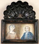 Miniaturen-PaarÖl/ Elfenbein. Quadratische Form. Porträt eines adligen Paares. Rücks. hist