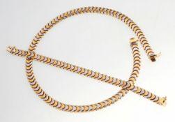 Bicolor-Schmuckset2-tlg. Collier u. Armband. 585er GG/WG. Zusammengesetzt aus beweglich mitei