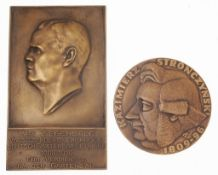 """Paar PlakettenMessing/ Bronze. Plakette """"Für Verdienste um den Gartenbau"""". Hochrechteckige T"""