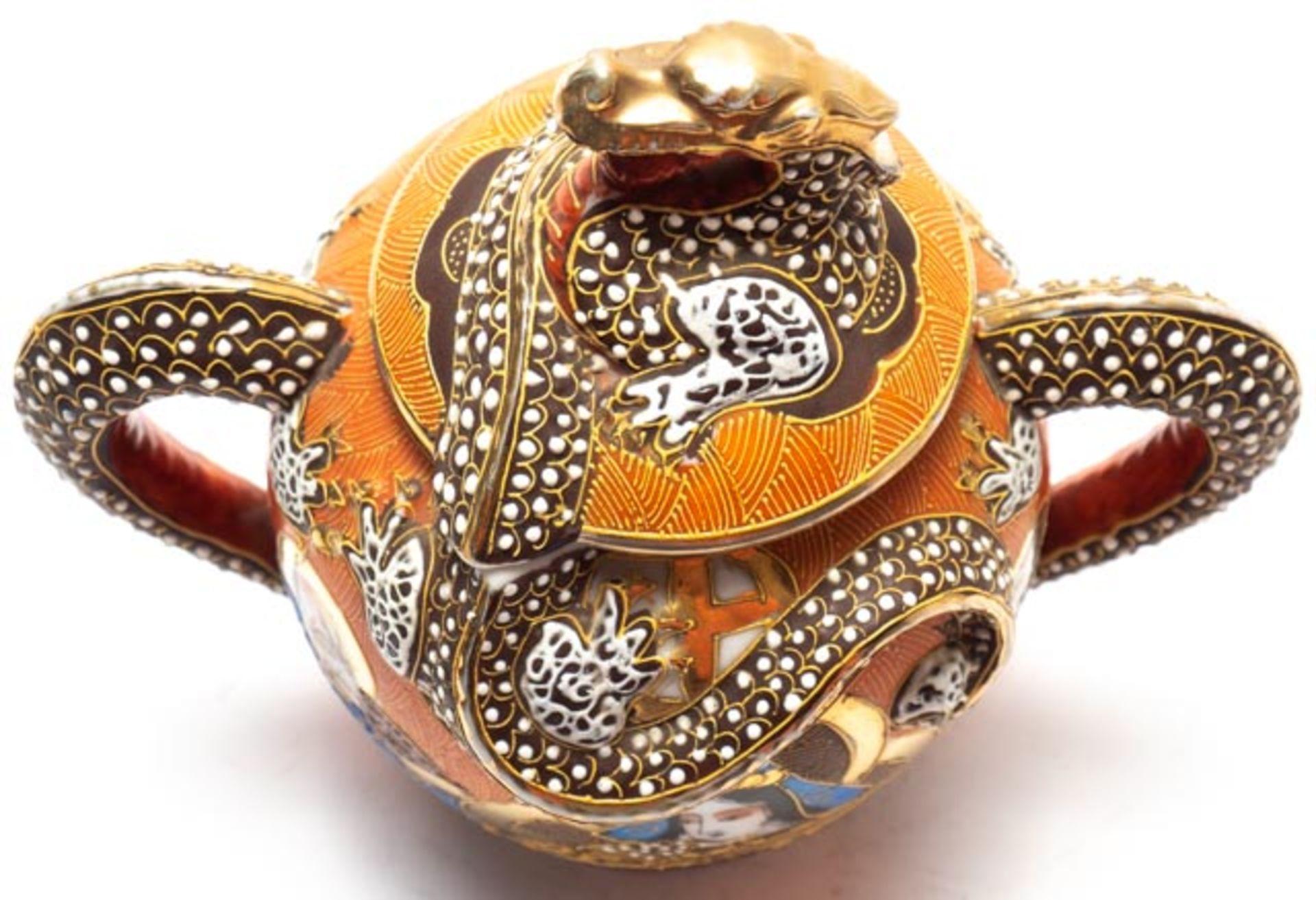 Prunkvolle asiatische Deckeldose - Image 11 of 14