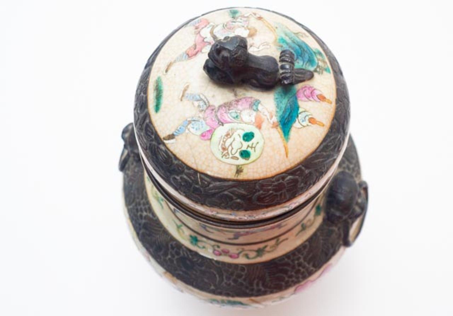 Chinesische Deckelamphore mit Schlachten - Image 6 of 13