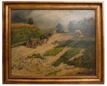 Landschaftsgemälde Pferdekutsche