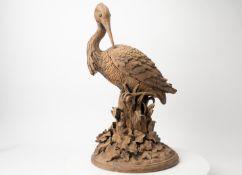 Monumentaler Terracotta-Kranich