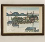 """Aquarell """"Landschaft mit Hafen"""""""