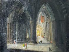 Gotische Basilika mit Figurenstaffage